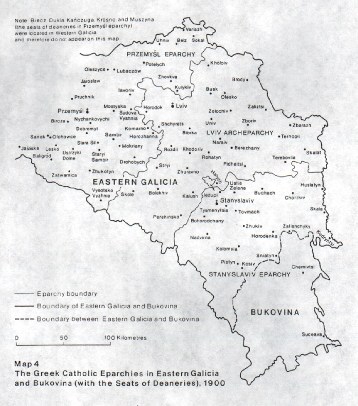 the greek catholic eparchies in eastern galicia and bukovina with the seats of the deaneries 1900
